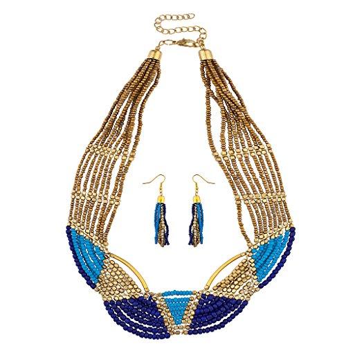 lux-accessori-blu-viola-oro-perline-dichiarazione-collana-orecchini-abbinati