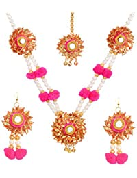 Floret Pink Colour And White Pearl Gotta Patti Flower Jewellery Set With Necklace, Earrings And Maang TikaFor...