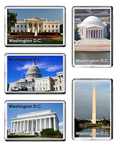 Set di 5 Washington DC Frigo magneti degli Stati Uniti Travel Landmarks