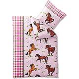 2-teilige Kinder-Jugend-Bettwäsche   135 x 200 cm   100% Baumwolle Biber-Qualität   Mädchen-Motiv Perd Ponny rosa pink   Biber Kids CelinaTex 0003066