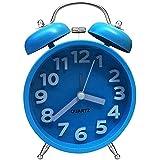 Twin Bell Reloj despertador de cuarzo, cooja sin sonido analógico mesilla Lovely relojes, color azul