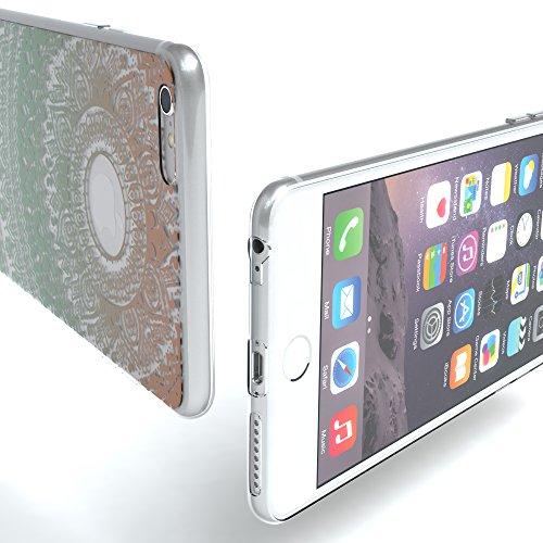 """Apple iPhone 6S Plus / 6 Plus Hülle, EAZY CASE Cover """"Henna"""" - Premium Handyhülle mit Indischer Sonne - Transparente Schutzhülle in Weiß Transparent Gold / Grün"""