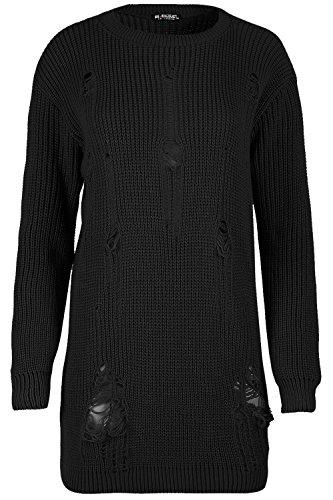 Be Jealous Damen Frauen Übergroßes Sweatshirt Beunruhigtes Zerstörung Lange Linie Schwarz