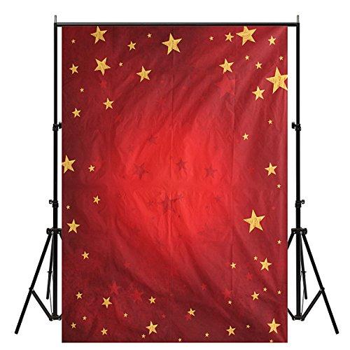 Werse 5X7ft Weihnachten Rot Thema Sterne Vinyl Fotografie Studio Hintergrund Foto Prop Hintergrund -