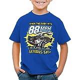 style3 88mph T-Shirt pour Enfants Futur Delorean Voyage dans Le Temps, Couleur:Bleu, Taille:140