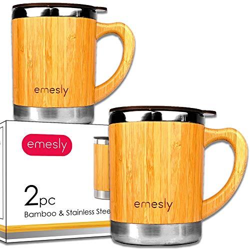 Edelstahl Bambus Kaffeetassen mit Griff & auslaufsicherer Deckel (2er Set), natürliches Holz, leicht bruchsicheres Design, umweltfreundlich, isoliert, für Kaffee und Tee, 325 ml