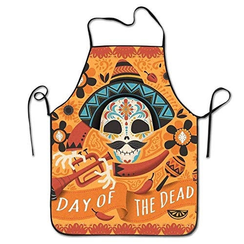 SPHGdiy Mexican Sugar Skull Adjustable Apron for Kitchen BBQ Barbecue Cooking Chef ()