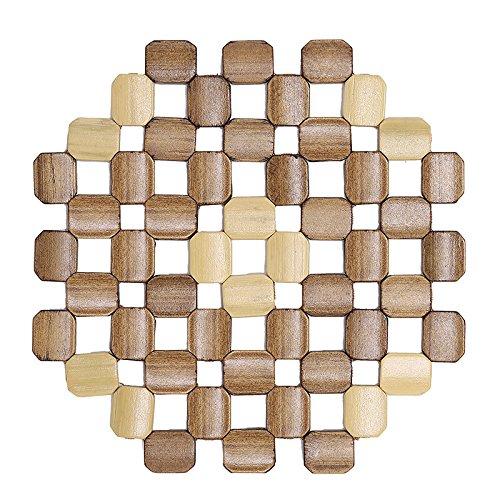 Kaku redondo de bambú mantel individual almohadillas de aislamiento contra hot para manteles individuales posavasos hueca de madera Copa Pot Mat Cocina Accesorios