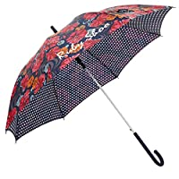 LADIES RUBY SHOO COLORADO CORAL NAVY FLORAL UMBRELLA 50141