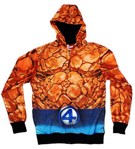TeeShirtPalace Herren Die Fantastischen Vier, Die Die Sache Sublimiert Kostüm Hoodie - Fantastisches 4 Kostüm