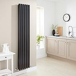 Hudson Reed - Radiateur Chauffage Central Vertical Design - Acier Noir Brillant - 178 x 35cm - Double Rang