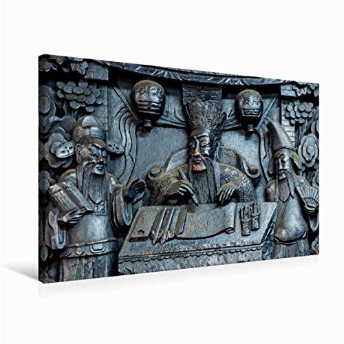 Jade-pagode (Premium Textil-Leinwand 75 cm x 50 cm quer Pagode des Jade-Kaisers, Saigon | Wandbild, Bild auf Keilrahmen, Fertigbild auf echter Leinwand, Leinwanddruck)
