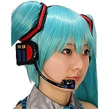 Hatsune Miku peluca con auriculares 1 adornos cuadrados pelo 2 auriculares 3. Mikuu ~ iggu 4. 5 redecilla. Cosplay Peine (jap?n importaci?n)