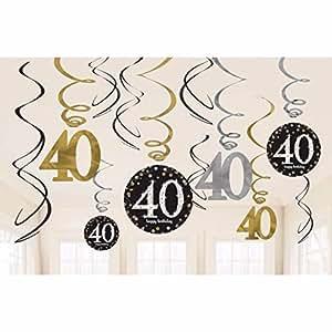 Amscan gold celebration 40th birthday swirl decorations for 40th birthday decoration packs