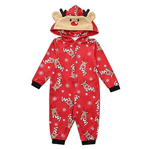 Jumpsuit Weihnachts Schlafanzug Familie Festliche Outfits Hemd Pyjama und Hose Set Christmas Baumwolle Nachtwäsche Kostüm Onepiece Overall Hausanzug für die Familien Mutter Vater Kinder Baby Winter