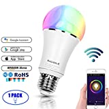 HiGOLE Smart LED Licht(E27 RGBW WIFI),Mehrfarbig für Schlafzimmer,Dimmbare Warmmes weißes Licht,Magic Lighting kompatibel mit Amazon Alexa / Google Assistent / IFTTT [Energieklasse A++] - 1 Pack - wifi