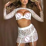 FOTBIMK Lingerie de Nuit Femme Sexy Tentation en Dentelle-Tenue Sexy Femme -Ensemble de Lingerie Sexy -Soutien-Gorge Lingerie-Pyjama Femme Pas Cher 1 PC Top+ 1PC Jupe Blanc L