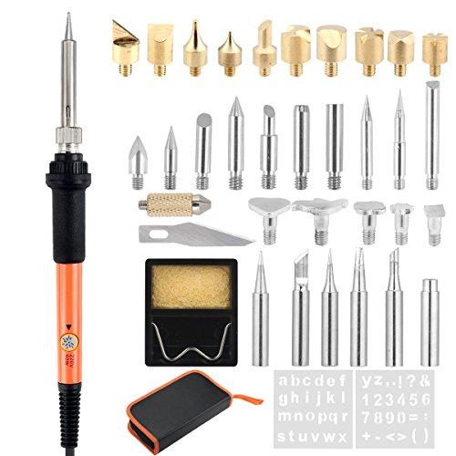 Brandmalerei Lötkolben Set,39 PCS Brandmalkolben Set mit einstellbarer Temperatur, enthält Schnitzen/Prägen/Lötspitzen, Schablonen, Stichel, Ständer, PU-Beutel für Holz, Leder, Wachs