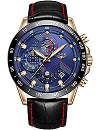 6a559c9d3b6d Reloj Deportivo para Hombre Reloj de Cuarzo analógico Impermeable Marca de  Lujo LIGE Cronógrafo de Cuero