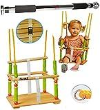 alles-meine.de GmbH 2 TLG. Set: Schaukel aus Holz + Türreck - Gitterschaukel mit Gurt incl. Name - Babyschaukel Kinderschaukel - Sicherheitsgurt Holzschaukel Baby Kinder / Kleink..