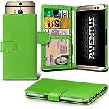 Aventus (Grüne) HTC Desire 620G Dual Sim Premium-PU-Leder Universal Hülle Spring Clamp-Mappen-Kasten mit Kamera Slide, Karten-Slot-Halter & Banknoten Taschen