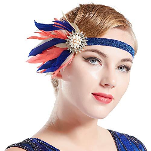 Coucoland Damen 1920s Feder Stirnband 20er Jahre Stil Flapper Charleston Haarband Great Gatsby Damen Fasching Kostüm Accessoires (Blau mit blauem Band)