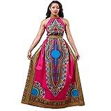 kingko® Frauen Sexy Afrika Print Kleid Dashiki Ärmelloses Langes Kleid (M)