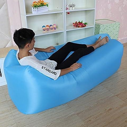 RBL Outdoor portatile pieghevole Poltrona gonfiabile pausa pranzo divano letto veloce gonfiabile Lazy Sleeping Laybag Cuscino, Sky Blue