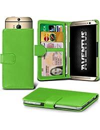 Aventus (Green) Vodafone Smart Platinum 7 Universal Case Etui Housse Wallet Spring Clamp Premium Pu Cuir Avec Caméra Slide, Titulaire De La Carte De La Fente Et Billets Pocket