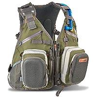 Anglatech Fly Combo–Mochila Chaleco de Pesca Pecho Paquete para Tackle Gear y Accesorios, Incluye Bolsa de Agua, tamaño Ajustable para Hombres y Mujeres, Forest