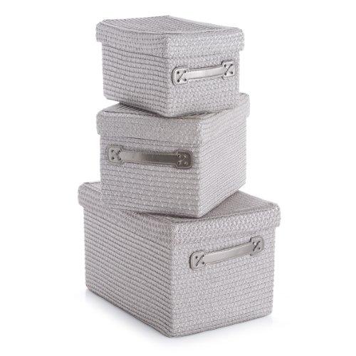 Zeller 14087 Lot de 3 corbeilles rondes avec couvercle en polypropylène gris, 36x26x24 cm; 30x22x20 cm; 26x18x16 cm