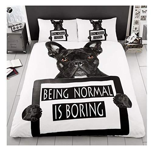 DigitalSpot Bettwäsche-Set, französische Bulldogge, Bedruckt, luxuriös, wendbar, Bulldog Print Single, Einzelbett-Größe -