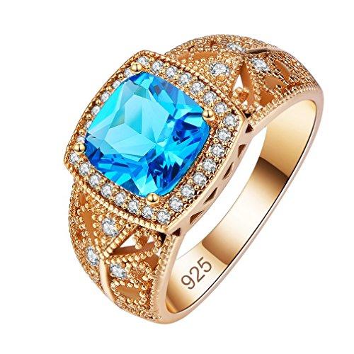 Yazilind Brilliant Blaue Zirkon Ringe eingelegten Strass vergoldet Engagement für Damen größe 18.1