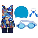Wetex Premium Girls Swimming Kit with Swimming Costume Swimming Goggles Silicone Swimming Cap 1 Nose Clip 2 Ear Plugs (Light Blue)