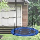 Qulista Nestschaukel rund 100Ø Kinder Familien Outdoor Garten Schaukel Belastbar bis 100 kg Tellerschaukel Haltbarkeit Swing Kit (Blau)