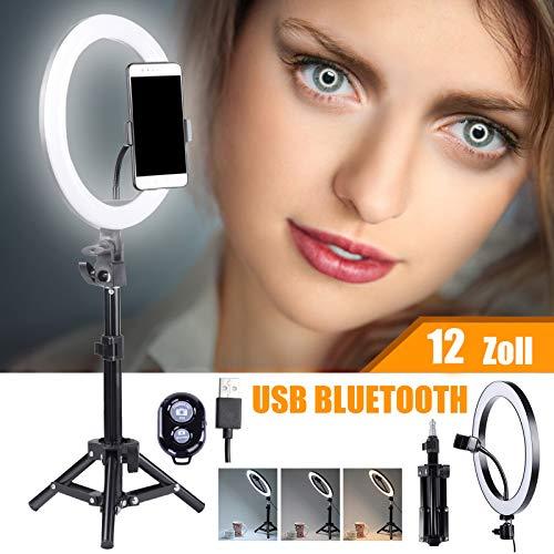 HAKUTATZ 12''Ringlicht USB LED Ringleuchte mit Bluetooth für Handy Kamera Video und Fotoaufnahmen Make-up, Live