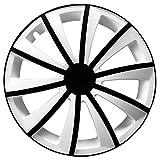 (Farbe & Größe wählbar) 15 Zoll Radkappen GRALO Bicolor Weiß/Schwarz passend für fast alle Fahrzeugtypen – universal