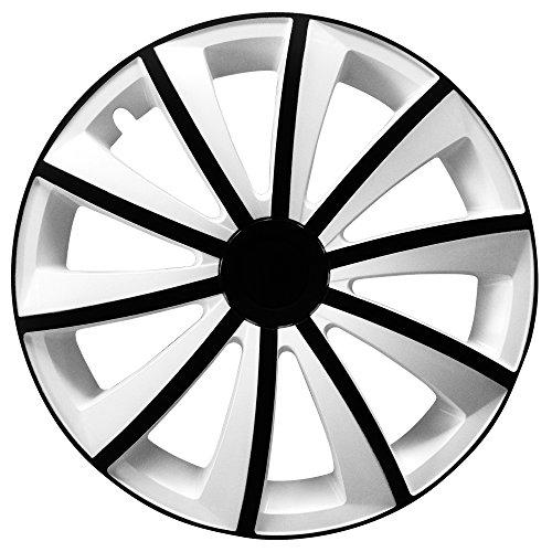 (Farbe & Größe wählbar) 16 Zoll Radkappen GRALO Bicolor Weiß/Schwarz passend für fast alle Fahrzeugtypen - universal