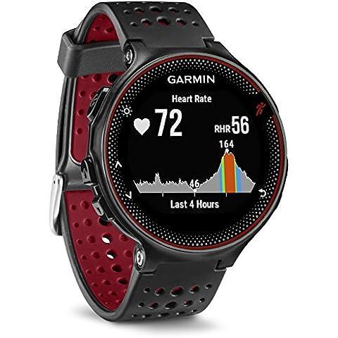 Garmin Forerunner 235 - Reloj con pulsómetro en la muñeca, unisex, color negro y rojo, talla