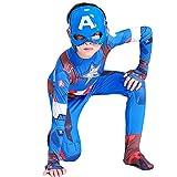 Capitan America Costume Scudo Maschera Bambini Costume Cosplay Calzamaglia Siamese Tutina Ragazzi Fancy Dress Hero Halloween Tute,Onesie mask-120 cm