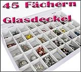 Yudu® Schmucklade Schaukasten Sortierkasten mit Glasdeckel 45 Fächern weiss