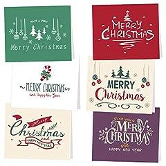 Idea Regalo - TUPARKA 30Pz Biglietto Auguri Natale con buste e adesivi da neve, 6 disegni natalizi