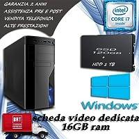 PC FISSO COMPUTER DESKTOP INTEL CORE i7 - RAM 16 GB - SSD 120 HDD 1TB -SCHEDA VIDEO DEDICATA 2 GB LICENZA ORIGINALE MICROSOFT WINDOWS 10 PRO