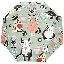 LiFei Business Estilo Japonés de cómic Gato Paraguas Hombre y Mujer Plegable Paraguas Doble Uso Lluvia