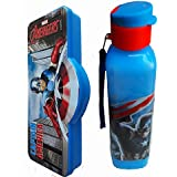 Pawan Plastic Ski Captaion America Combo Gift Set of 600 ml Flip Cap Water Bottle & Double Leval Pencil Box With Stationary - For Boys & Girls