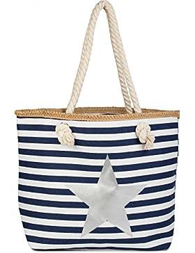 styleBREAKER Strandtasche mit maritimen Streifen Muster, Stern Print und Reißverschluss, Schultertasche, Shopper...