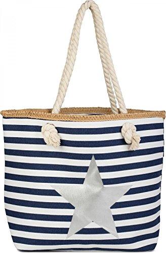 styleBREAKER Strandtasche mit maritimen Streifen Muster, Stern Print und Reißverschluss, Schultertasche, Shopper, Damen 02012169, Farbe:Marine-Weiß / Silber (Gestreifte Strandtasche)