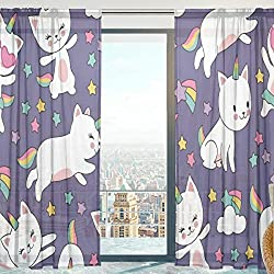 Mnsruu - Cortinas de Gasa translúcidas con diseño de Gatos y Unicornios para Dormitorio, Sala de Estar, 140 x 213 cm, 2 Paneles