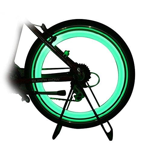 Extrbici, luce per raggi di bicicletta, un paio di luci per ruota anteriore e posteriore, in plastica ABS, impermeabile, luce di segnalazione a LED a 3 modalità, per mountain bike, bici da strada, pieghevoli ed elettriche, Green