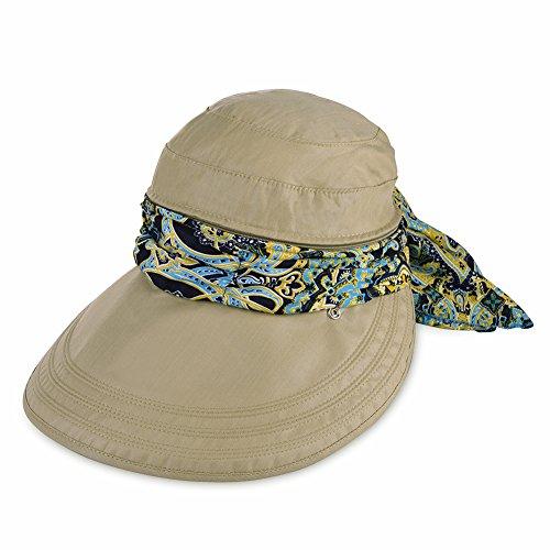 Vbiger Faltbare Sommer Sonnenhut Weiblicher Hut Baseball Kappe Frauen Anti-UV Hut (Khaki)